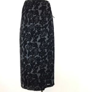 NY & co  skirt Black velvet Size 14 Wrap Maxi